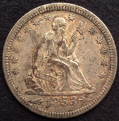 1853 Seated Liberty Silver Quarter Arrows And Rays EF/XF/AU With Luster