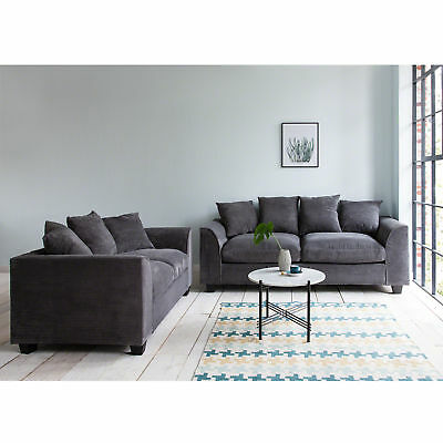 2 Seater Sofa, 3 Seater Sofa, 3 + 2 Sofa Set Settee Couch Grey