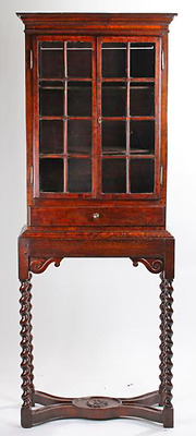 17th century William & Mary mulberry wood glazed display cabinet