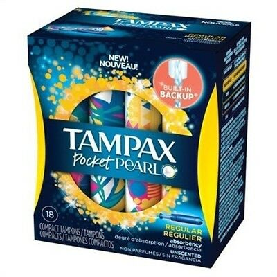 Tampax Pocket Pearl Compact Plastic Tampons Regular, Unscented - 18 Ct (3 Pack)