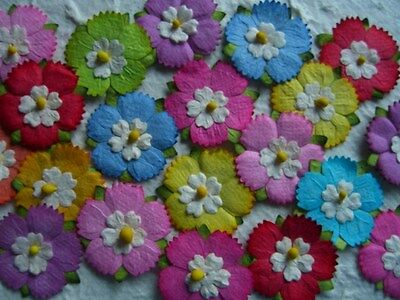 50 x 25mm FLOWERS Mixed Colours  MPFF33 Scrapbook Card Party embellishments