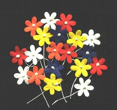 100 x 17mm FLOWERS MPFF2A::: BRIGHTS Scrapbook Collage Card embellishments