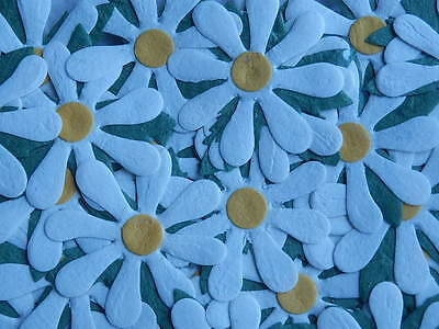 24 WHITE Paper DAISIES MPFF25W::: 55mm Wedding Card Scrapbooking Embellishments