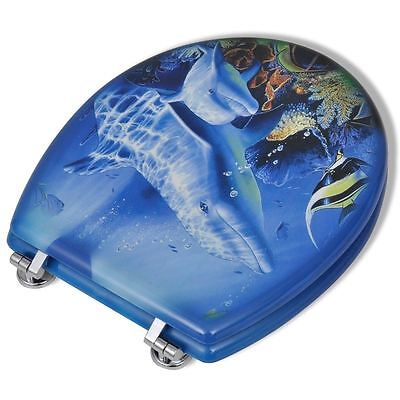 "18"" Wooden Mdf Dolphin Sea Design Stylish Toilet Lid Seat Chrome Fittings"