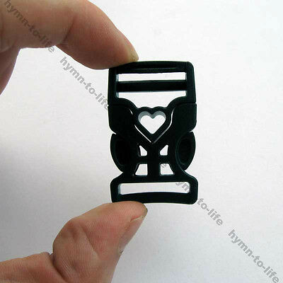 "50 sets Black Heart-shaped Buckles 3/4"" for Student Leisure bags M503-20-50"
