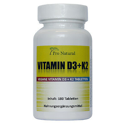 Pro Natural Vitamin K2 MK7 - 200µg + Vitamin D3 - 5.000 IE je 180 Tabletten