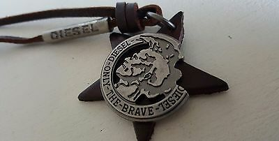 DIESEL Necklace Pendant Star Brown Leather Unisex