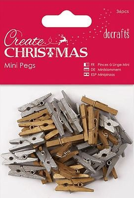 Docrafts CREATE CHRISTMAS Mini Pegs ~ Gold & Silver (36pcs)