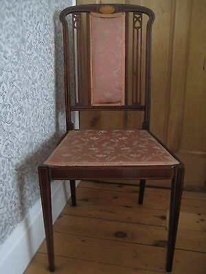 Edwardian Mahogany Inlaid Occasional Chair with Pierced Back
