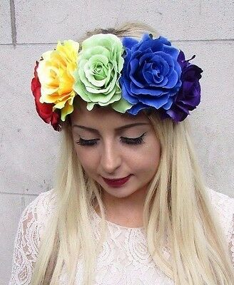 Large Rainbow Rose Flower Garland Headband Hair Crown Band Boho Festival 3783