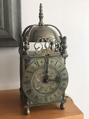 Large Old Brass Lantern Clock With Smiths Sec Movement