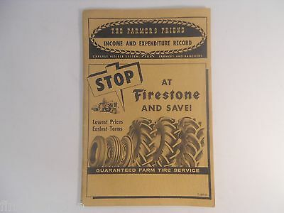 Vtg 1956 THE FARMERS FRIEND w/ FIRESTONE TIRES Advertising Income Expense Record