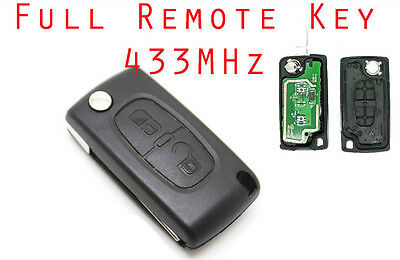 Fits to PEUGEOT 207 307  308  2 Button Remote Key FOB 433MHz VA2 blade ce0536