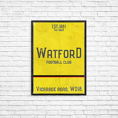 Vicarage Road Watford FC Yellow A3 Picture Art Poster Retro Vintage Style Print