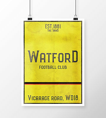 Vicarage Road Watford FC Yellow A4 Picture Art Poster Retro Vintage Style Print