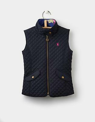 Joules 124398 Girls Jilly Quilted Fitted Gilet with Funnel Neck in Marine Navy