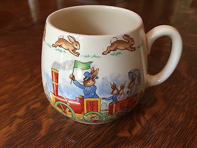 Vintage Royal Doulton Barbara Vernon Bunnykins Mug To The Station RARE