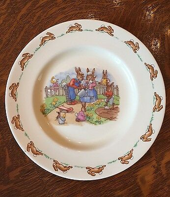 "Vintage pre-1954 Bunnykins Watering the Flowers 7 5/8"" Plate Barbara Vernon Mark"