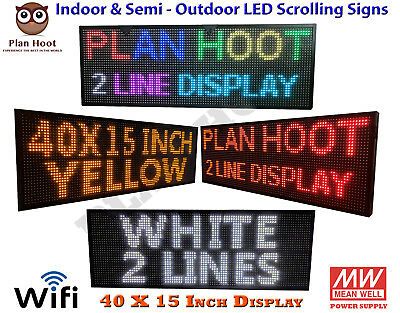 """40""""x15"""" Wifi Usb Led Programmable Scrolling Sign For Semi Outdoor Indoor Use"""