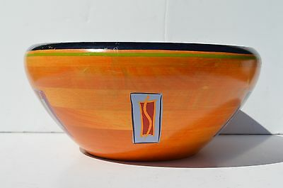 Beautiful Vintage Hand Turned, Painted Wood/wooden Bowl Wonderful Design