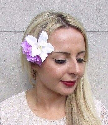 Double Magenta White Orchid Peony Flower Hair Clip Fascinator 1950s Rose 3793