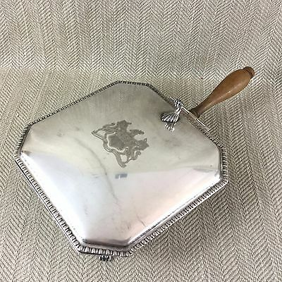 Vintage Silver Plate Silent butler Crumb Covered Tray Handled Dish Box Armorial