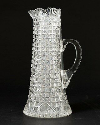 "Antique ABP American Brilliant Cut Glass Champagne Pitcher Tankard w Handle 11""T"