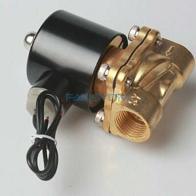 "Hot -QN 1/2"" Brass Electric Solenoid Valve 110V AC Water Air Normally Closed N/C"