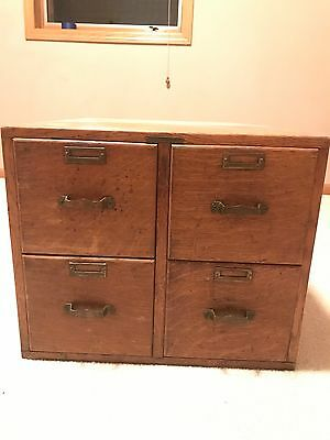 Antique Oak 4 Drawer File Card Cabinet Library Bureau Sole Maker Dovetail