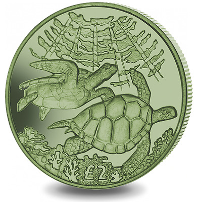 2017 British Indian Ocean Territory Green Turtle Titanium w/box COA