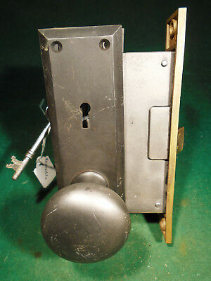 VINTAGE CORBIN MORTISE LOCK w/KEY, KNOBS & BACKPLATE - RECONDITIONED  (6176-3)