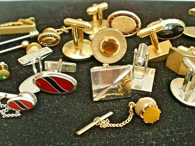 a95f4fc3efe5 Vintage Lot Cuff Links, Tie Clasps and Tie Tacs and Money Clip Mixed 34 pcs