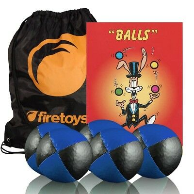 Firetoys 5x Juggling Ball Set Blu/Blk, Booklet + FREE Bag NEW - MADE IN UK