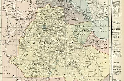 Abyssinia British East Africa Egypt Sudan Somalia c.1905 detailed old color map