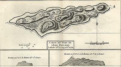 Pitcairn Oeno Islands Pacific Captain James Cook voyages 1774 old map