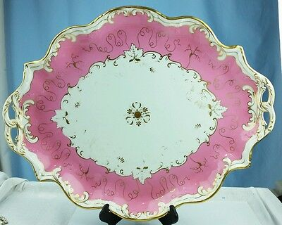 Lg Antique Tiffany & Co. Stoke on Trent Platter Shabby Chic Pink Gold Encrusted