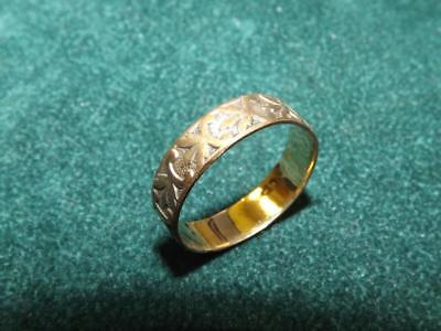 Antique Victorian Gold Filled Patterned Wedding Band Ring Sz 8