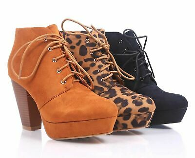 df4701cbc79c 3 Color Fashion Faux Suede Lace Up Booties Cuban High Heel Women Ankle Boots