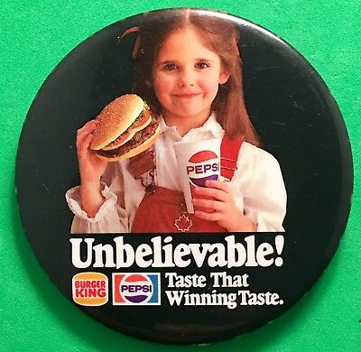 Burger King Restaurants, Pepsi,  Pinback Button