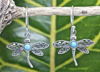 Handmade Sterling Silver .925 Bali Dragonfly Design Dangle Earring w Turquoise.