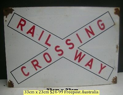 Railway Crossing  Tin Sign Great For Your Train Room  Freepost Australia
