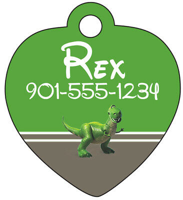 Disney Toy Story Rex Pet Id Tag for Dogs & Cats Personalized w/ Name & Number