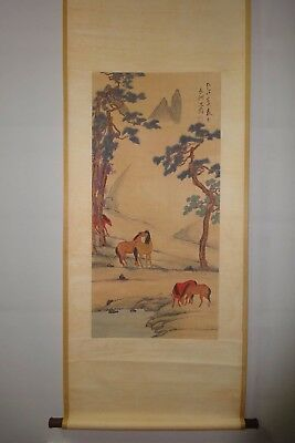 "Large Rare Old Chinese Scroll Hand Painting Landscape Horses ""ShenZhou"" Marks"