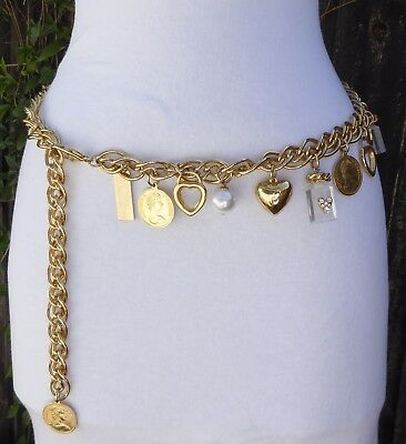 Vtg THE LIMITED Gold Tone Metal Dangling Charm Chain Belt w/Perfume-Hearts-Coins