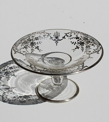 Antique, Vintage Clear Glass Compote with Sterling Overlay, Beautiful Design