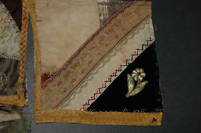 Antique Crazy Quilt Pieces Embroidered Stitching Study