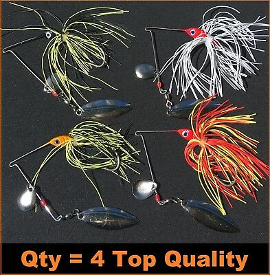 4x 1/2 oz Spinnerbaits Buzzbaits Spinner Baits Buzz Fishing Lures Bass Barra Cod