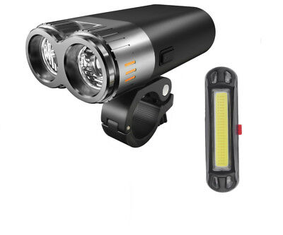 Super Bright Cree LED Twin Front Headlight 500 Lumens 2 x USB Tail Light Bicycle