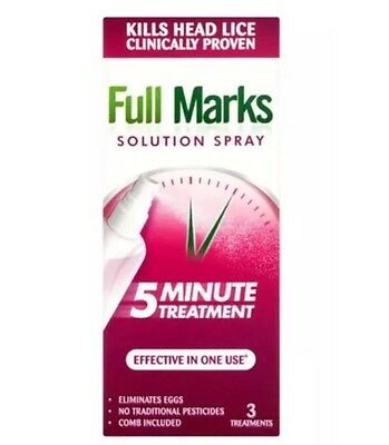 Full Marks Nit Solution Spray 5 Minute Treatment (3 Applications)150ml Boxed