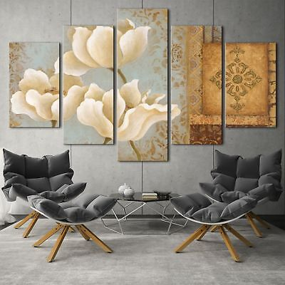 White flower series 5PCS HD Canvas Print Home Decor Picture Wall Art Painting